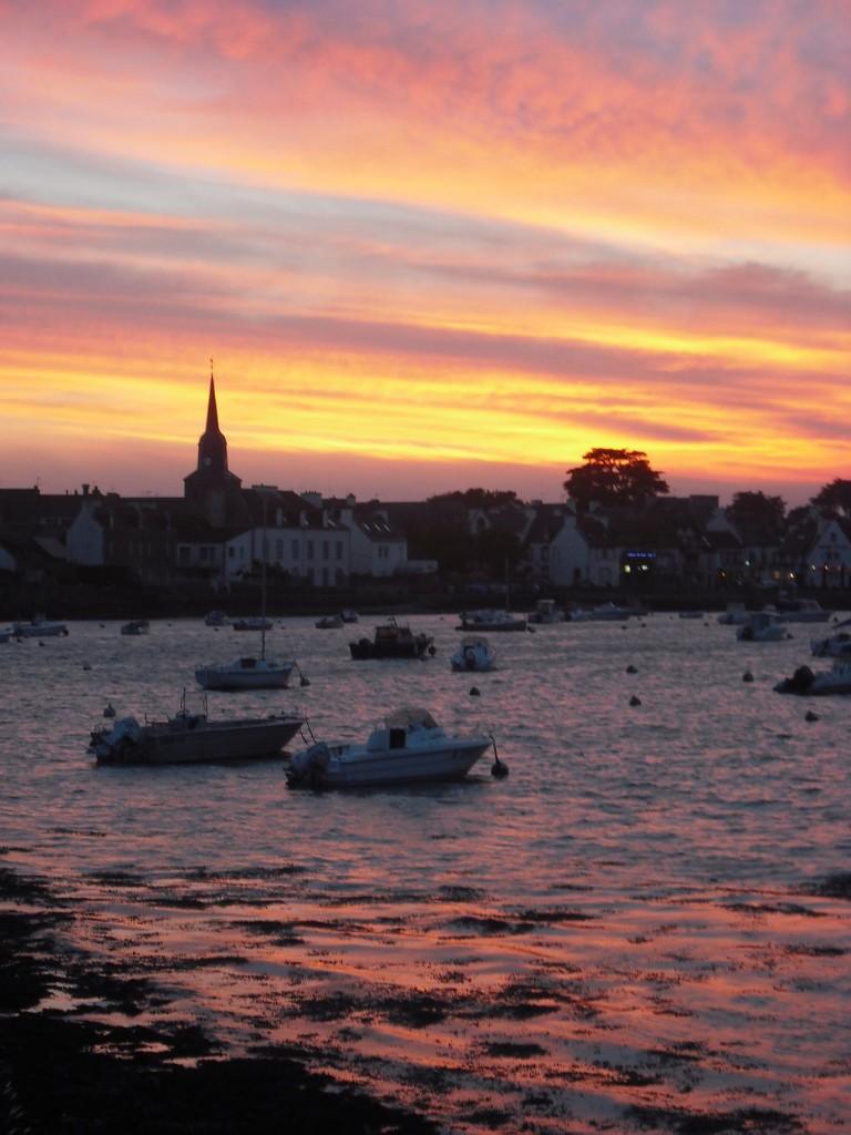 Voyage en Bretagne: coucher de soleil dans golfe du Morbihan